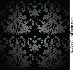 Dark Seamless Damask Pattern. Vector