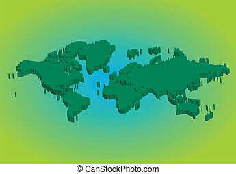 3D green world map