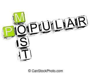 Most Popular Crossword - 3D Most Popular Crossword on white...