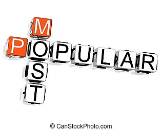 Most Popular Crossword - 3D Most Popular Crossword on white...