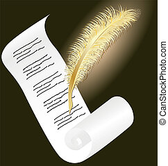 golden pen and paper11jpg - on a dark background a roll of...