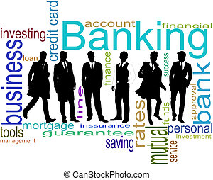 Bankers - Black silhouettes of the businessmen on a white...