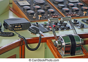 flight deck of a ship with the radio for all communications
