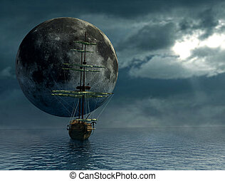 old ship over the ocean and the moon - digital artwork