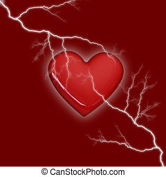 heart storm on red background