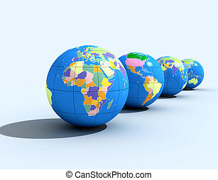 political globes - four political globe -digital artwork
