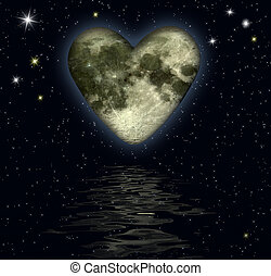 heart with texture-mapping of the moon over the ocean - digital artwork