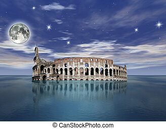 surrealistic view of the colosseum partially sunk in the...