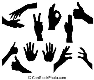Silhouettes and hands - Black silhouettes of hands in...