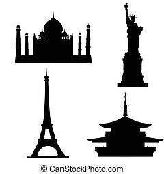 Silhouettes of buildings and sights on a white background