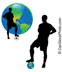 The football players and planet