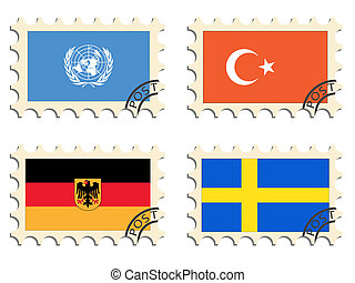The post stamps of the countries - The post stamps and flags...