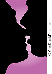 The two together - Silhouette kissed in love the man and...