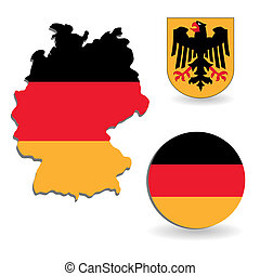 The Germany flag and map