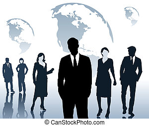 Team and the business people - Silhouettes of the men and...