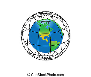 The Earth - Globe and earth on a white background