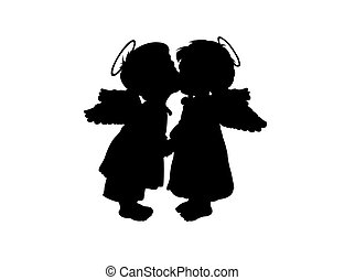 The angels - Two children's silhouettes with wings on a...