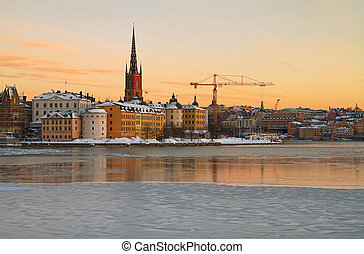 Riddarholmen in Stockholm. - The island Riddarholmen in...