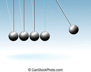 Time - Five spheres on threads hang and oscillate