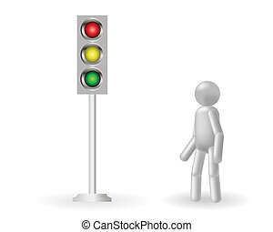 Traffic lights - The grey man stands about a traffic light