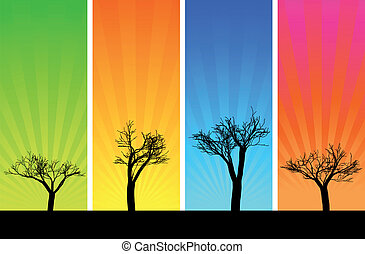 Trees and sunbeam - Silhouettes of trees on a multicolored...