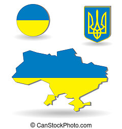 The Ukraine flag and map