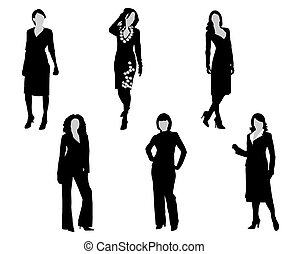 Womans - Black silhouettes of the women on a white...