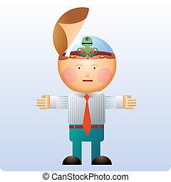 Alien mind control - Alien inside an head controlling an...