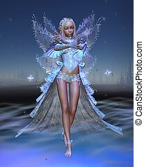 Ice Fairy with Winter Night