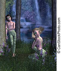 Forest Elves - Two elves in a beautiful forest clearing by a...