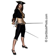 Female Buccanneer with Twin Rapiers - Female buccaneer or...