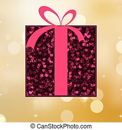 Red gift on a gold shine background. EPS 8
