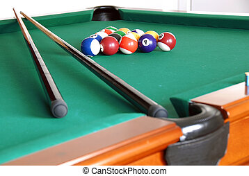 Billiards - billiards green table with balls and two black...