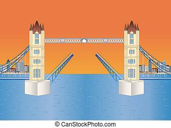 open tower bridge at sundown