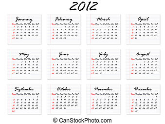 Calendar for 2012 in English; week starts with Sunday