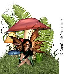 Woodland Mushroom Fairy - Pretty fairy sitting by woodland...