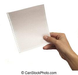 mão, segurando, papel