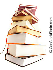books pile isolated on a white background
