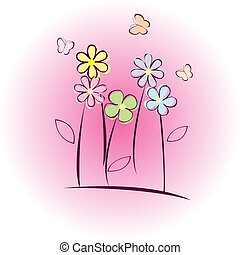 Greeting card with flowers and butterflies