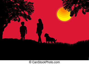 Mother, son and the dog
