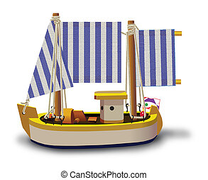 Little Ship - Little fishing ship model isolated on a white...