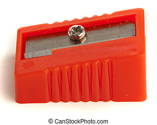 sharpener - red sharpener isolated on a white background