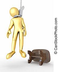 人, gallows, 白, 隔離された, 背景, 自殺