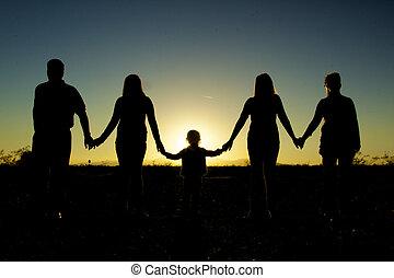 família, União, mostrado silhueta