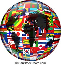 Flag Globe - Colourful globe illustration made up of flags...