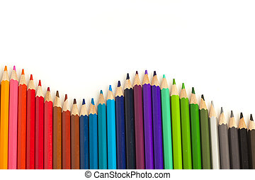 crayons wave - extreme closeup of crayons wave on white...