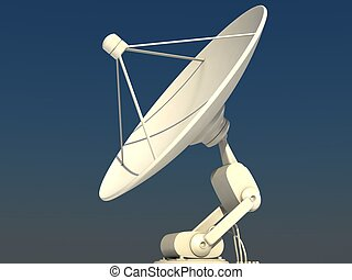 Satellite dish - White satellite dish on blue sky background...
