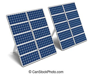 Solar energy panels - Two solar energy panels on a white...