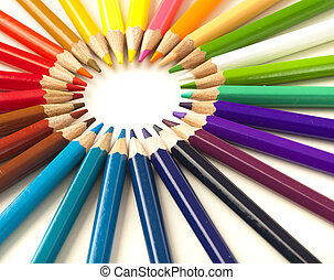crayons stack circle on a white background
