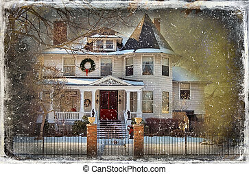 Vintage Christmas Card - Victorian house at Christmas in...